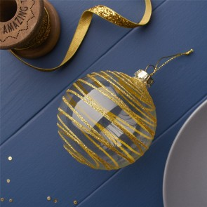 Bauble With Gold Glitter Stripes