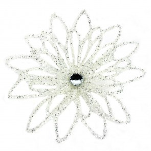 Iridescent White Flower Clip On Tree Topper