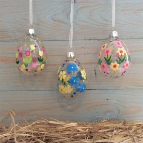 Set of Three Glass Easter Decorations