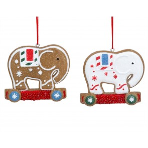 Set of 2 Iced Gingerbread Decorations 6cm - Elephant/Cart