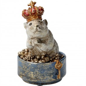 Resin Ornament 11cm - Hamster in Crown Pot
