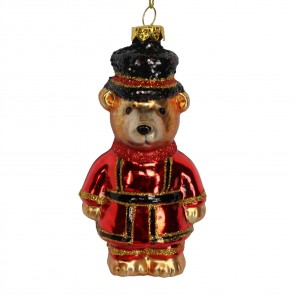 Painted Glass Beefeater Teddy Christmas Tree Decoration, 11.5cm