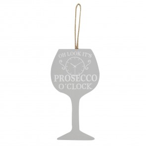 Grey 'Prosecco' O'Clock Wood Decoration