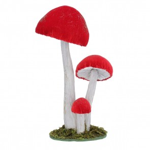 Fabric Orn 25cm - Red Fabric/Paper Triple Toadstool