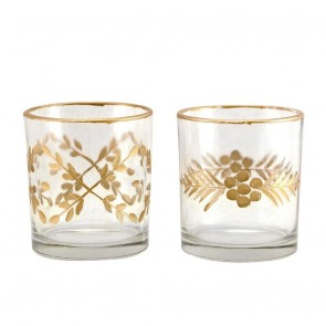 Set of 2 Glass Nite Lite - Etched Gold Patterns