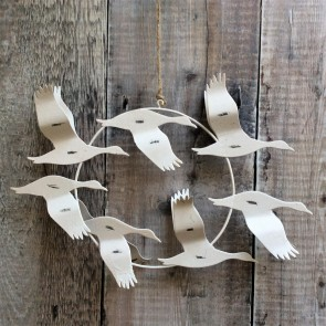 Cream Flying Geese Distressed Metal Decoration