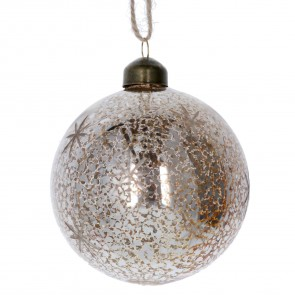 Glass Bauble 8cm - Gold Antiqued w Etched Stars