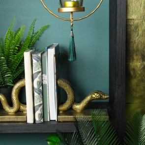 Old Gold Resin Snake Bookends