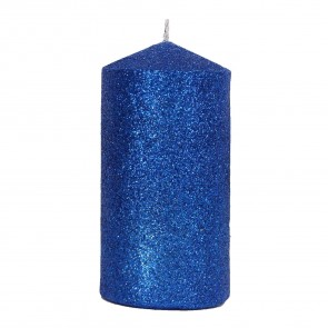Bright Blue Glitter Candle