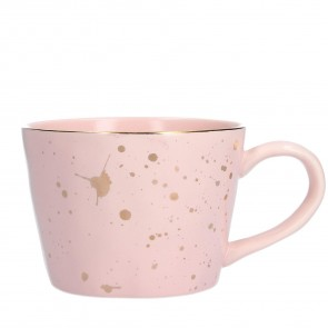 Pink Mug With Gold Paint Splash