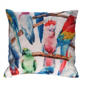 Bright Parrot Fabric Cushion