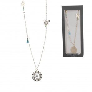 Gold Coloured Flower and Tassel Long Necklace
