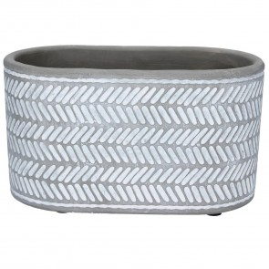 Light Grey Chevron Design Oval Concrete Pot Cover