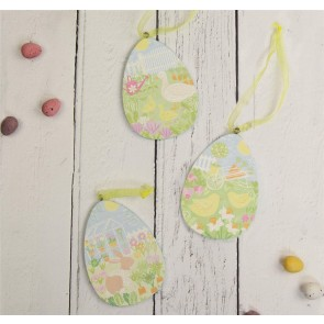 Spring Garden Scene Wood Easter Egg Decorations - Set of Three