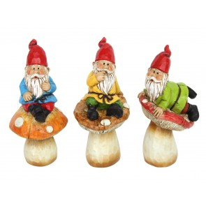 Resin Ornament 13cm - Gnome on Toadstool, 3as