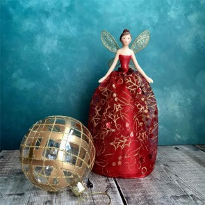 Red & Gold Fairy Tree Topper - Small