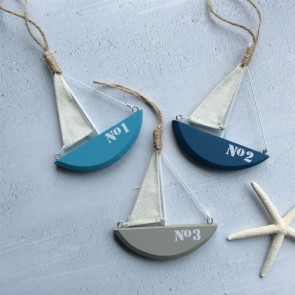 Painted Wooden Sail Boat - Set of Three