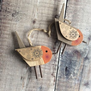 Wooden Robin Decoration