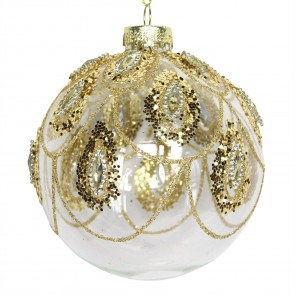 Glass Bauble 8cm - Clear/Gold Peacock Swags