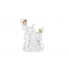 Resin Ornament 14cm - White Children Decorating Tree