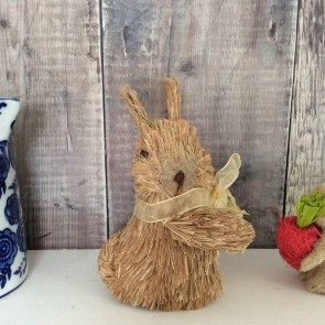 Brown Bristle Easter Bunny with Yellow Bow Small