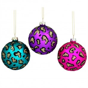Glass Bauble (8cm) - Purple/Pink/Turq Leopard, 3as