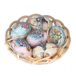 6 Victorian Style Eggs in Basket