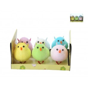 Box of 6 Flock Chick 6cm - Multi-Coloured