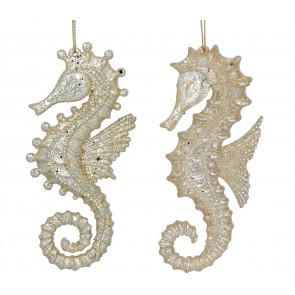Set of 2 Acrylic Decorations 14cm - Gold Seahorse