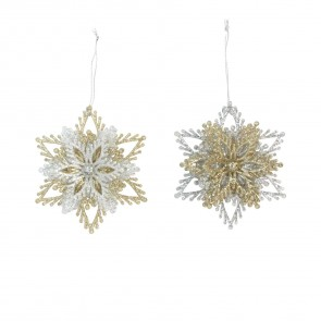 Silver/Gold Floral Star Decoration