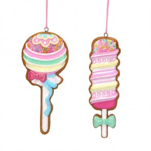 Set of 2 Gingerbread Decorations 9cm - Lollipops