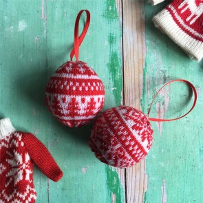 Set of Two Knitted Baubles