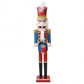 Wood Ornament 61cm - Red/Blue Nutcracker w Drum