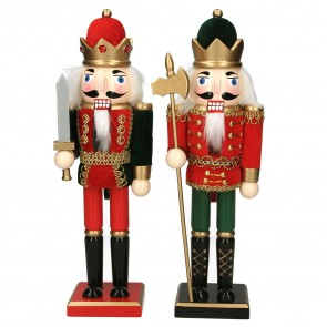 Set of 2 Nutcracker Soldiers 31cm - Red/Green with Fabric Jackets