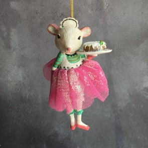 Ballerina Mouse With Christmas Cake