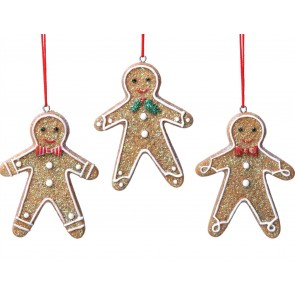 Set of 3 Iced Gingerbread Decorations 7cm - Man w Bow Tie