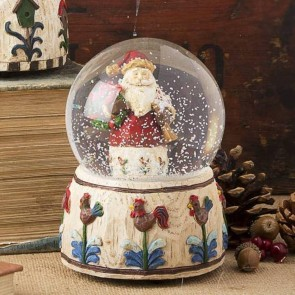 Musical Santa Snow Globe With Wreath