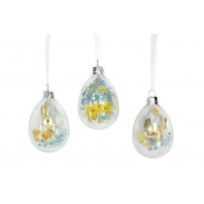 Country Folk Glass Easter Egg Decorations - Set of Three