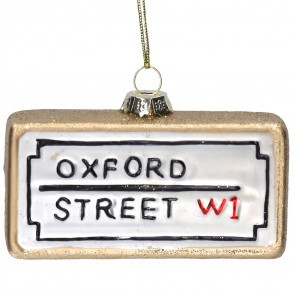 Oxford Street Glass London Street Sign Christmas Tree Decoration, 9cm