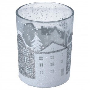 Glass Nite Lite 12cm - Clear w Silver/White Houses