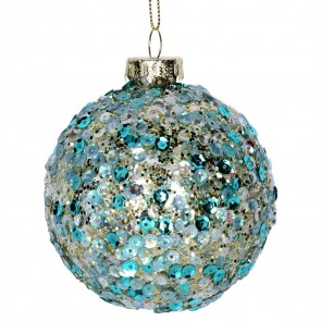 Glass Bauble 8cm - Blue Sequins