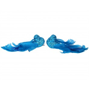 Set of 2 Clip On Birds 14cm - Blue Glitter with Feathers