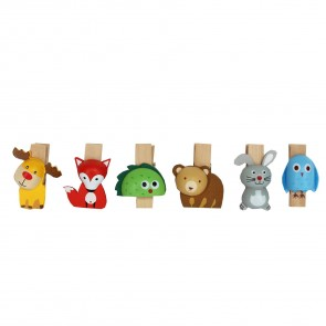 Set of Six Animal Peg Clips