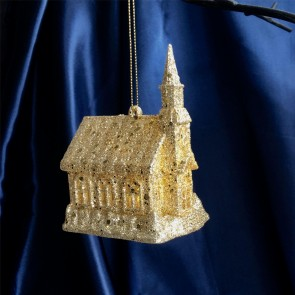 Gold Light Up Church Christmas Tree Decoration