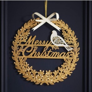 Gold Merry Christmas Wooden Wreath