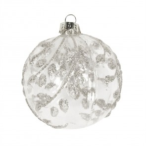 Glass Bauble 8cm - Clear/Silver Vines
