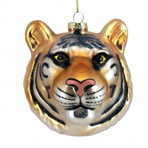 Painted Glass Tiger Head Christmas Tree Decoration, 8cm