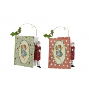 Set of 2 Paper Decorations 10cm - Santa with Book