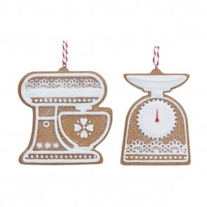 Set of 2 Resin Dec 6cm - Gingerbread 'Lace Iced' Scales/Mixer