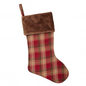 Tartan Christmas Stocking With Fur Trim